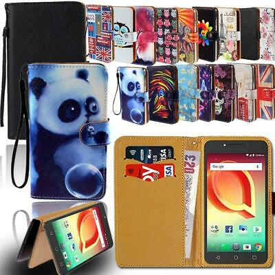 Leather Smart Stand Wallet Card Cover Case For Various Alcatel SmartPhones
