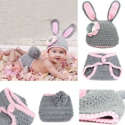 Baby Rabbit Bunny Costume Crochet Animal Ears Beanie Hat Knit Outfits Photo Prop
