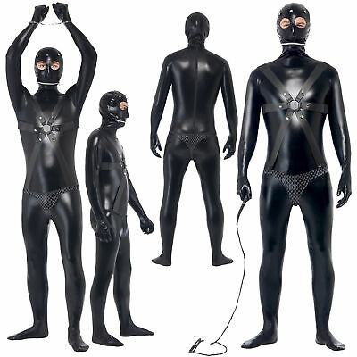 Adult Men Gimp Suit Costume Funny Comedy Stag Night Halloween Fancy Dress Outfit