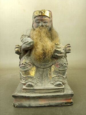 Antique Old Chinese Wood lacquerware Protector Deity Veda Buddha Statue