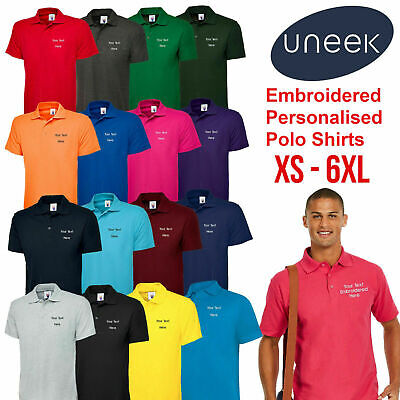 Custom Embroidered Polo Shirt Uneek UC101 Personalised with your Text Workwear