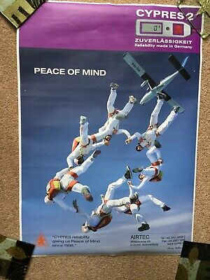 Skydiving poster 'Peace Of Mind ' skydiver Formation  42cm x 59cm Cypres