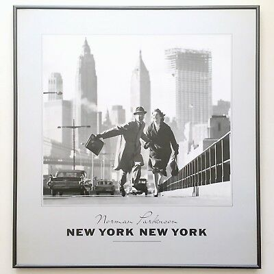 """Norman Parkinson 1980'S Lithograph Print Framed Poster """"New York New York"""" 1959"""
