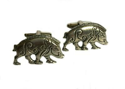 Celtic Boar Cufflinks. Fine English Pewter. Gift Boxed