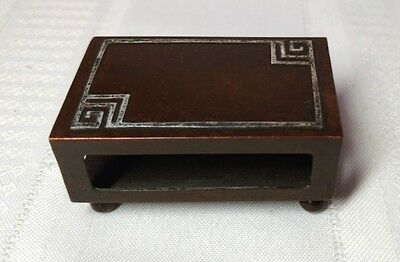 Heintz, Silver Overlay Footed Match Safe, Great Brown Patina, A + C, Nice~~~