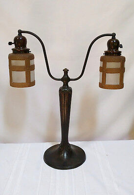 HANDEL DOUBLE ARM ARTS CRAFTS LAMP w SIGNED BROWN TEROMA RIVET STRAPPING SHADES