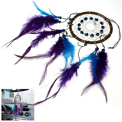 Dream Catcher Feathers Wall Car Hanging  Decor Turquoise Beads Ornament