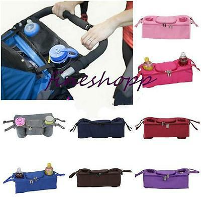 Baby Pram Buggy Organiser Pushchair Stroller Storage Cup Food Holder Bag LH