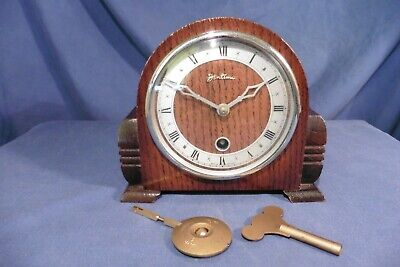 Vintage Small British Bentima Davall Timepiece Art-Deco 8 day clock - working