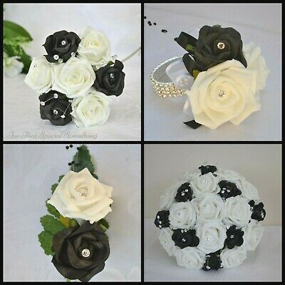 Wedding bouquet for bride, bridesmaid. Flower girl wand, groom buttonhole BLACK