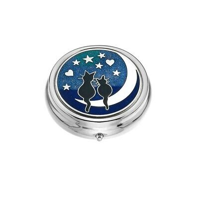 Black Cats & Moon Design Enamel & Silver Plated Pill Box 3 Compartments