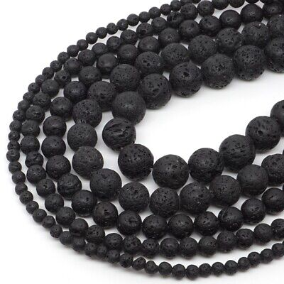 "Natural Gemstone Black Volcanic Lava Round Loose Beads 15"" 4mm 6mm 8mm 10mm 12mm"