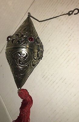 Beautiful Vintage Silver Church Religious Incense Jeweled Thurible Censer