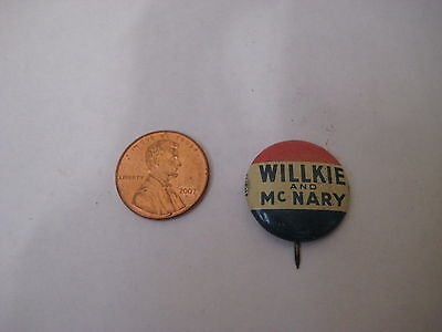 vintage Wendell Wilkie Charles McNary CAMPAIGN BUTTON pin pinback antique metal