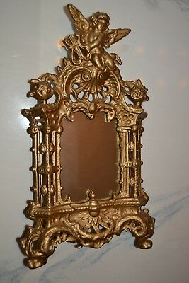 "Antique 14"" Ornate Cast Metal Angel 4 x6 Victorian Stand Picture Frame or Mirror"