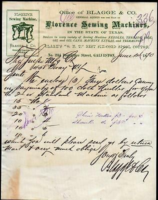 1870 Galveston Texas - Blagge & Co - Florence Sewing Machines - Letter Head