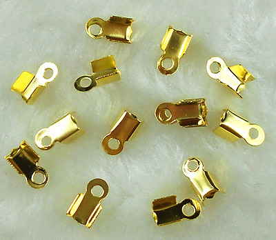200Pcs 8mm Gold Plated Smooth Folding Crimp Connector End Beads ~Free Ship