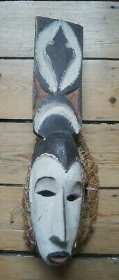 Good Old Nigerian Igbo Afikpo Carved Wooden Tribal Mask W/ Original Binding