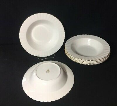 "Royal Albert Bone China Val D'Or Rim Soup Bowls 8 1/8"" England Set Of 6"