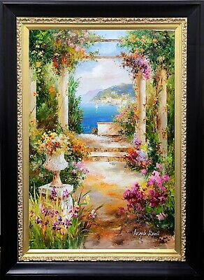 Framed Italian Coast Town Beach Landscape, Hand Painted Oil Painting, Wall Art