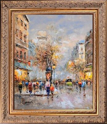 Framed Original French Landscape Oil Painting On Canvas Paris Evening City View