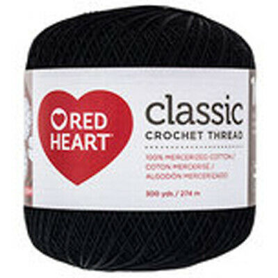 New Red Heart Classic Fine Crochet Thread 300 YDS 144-12 Size 10 Black FREE Ship