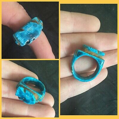 Rare ancient Egyptian blue faience fish amulet ring, 300 bc