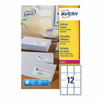 Avery L7164-250 Quickpeel White Laser 12 Per Sheet Addressing Labels-250 Sheets