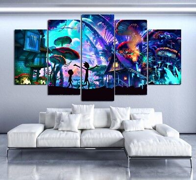 Wall Art Frame Canvas HD Printed Pictures 5 PCS.Poster Rick And Morty Paintings