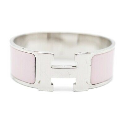 HERMES Click Crack GM Bracelet Bangle Metal Silver Pink Accessory Accessory