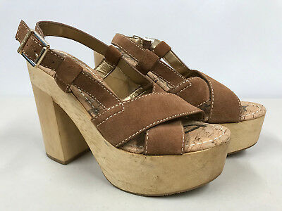 5e55727a0 SAM EDELMAN Womens size 7 Tan Corbin Leather Suede Cork Sole Platform Heels