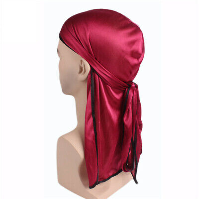 Women Lady Pirate Durags Long Tail Headwraps Muslim Turban Cycling Chemo Hats #@