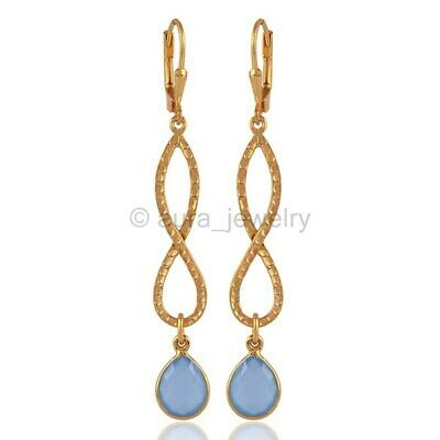 18K Yellow Gold Plated Blue Chalcedony and Silver Enfinity Earring