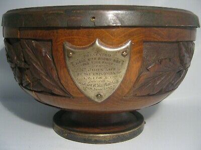 Antique 1892 Wedding Gift Wood Trophy To John Low From Employees A.B. Low & Co