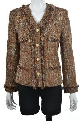 Saks Fifth Avenue Folio Collection Jacket Size 8 Brown Tweed Basic Blazer