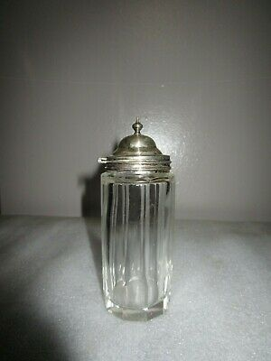 ANTIQUE CUT GLASS to fit Condiment Holder Jam Mustard Pot SILVERPLATE HINGED LID