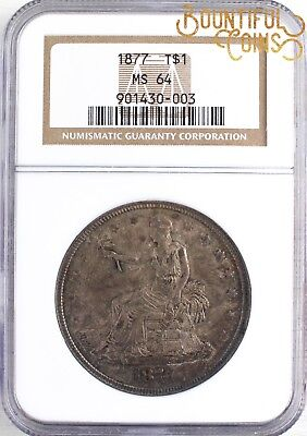 ~1877 NGC MS 64 Trade One Dollar T$1 Mint State Pretty Dark Toning Toned (U94)~