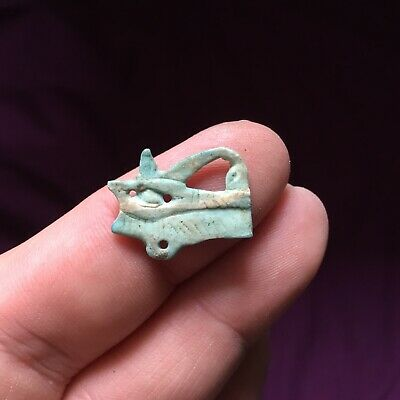 Rare ancient Egyptian blue eye of Horus amulet ring , 300 bc