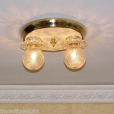 775 Antique 30's 40's arT Deco Ceiling Light Lamp Fixture hall bath closet