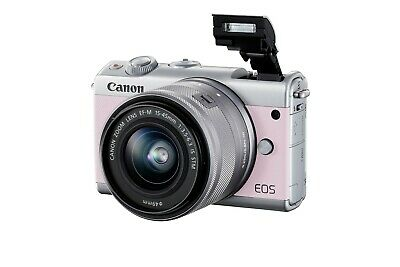Canon EOS M100 Mirrorless Digital Camera 15-45mm EF-M IS STM Lens Pink