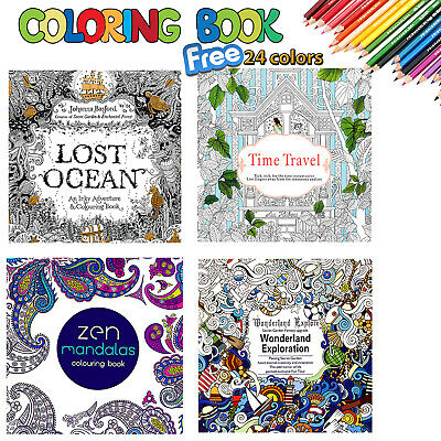 4 x Colouring Drawing Books + 24 Colour Pencils Set Anti Stress Drawing Children