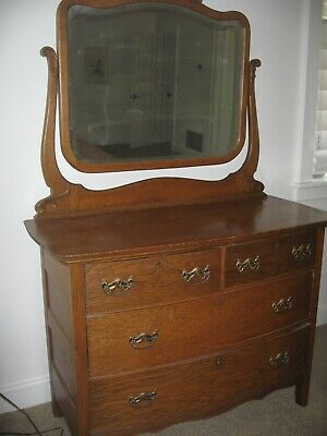 REDUCED Antique mirrored golden oak dresser,lovely carving, mirror aged, 1930?