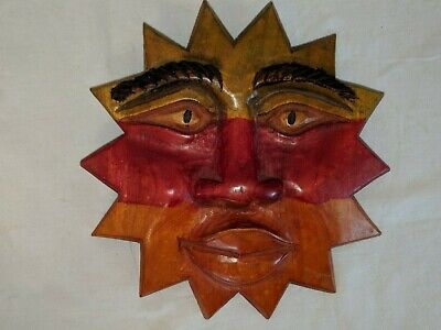 """Gorgeous Vintage 8 1/2"""" Hand Carved Dyed Stained Wood Sun Face"""