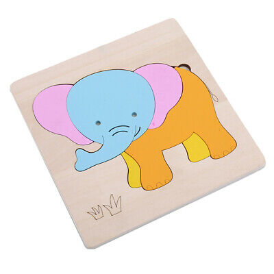 New Animals Wooden Blocks Toddlers Baby Kids Child Educational Puzzle Toy LH