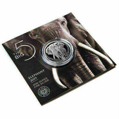ELEPHANT - SOUTH AFRICA BIG FIVE 2019 5 Rand 1 oz BU Silver Coin in Blistercard