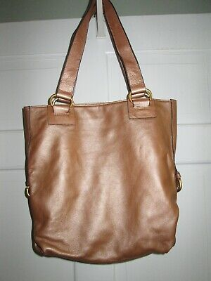 Soft Leather Golden Light Brown Adjustable Tote/Purse
