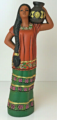 """Hand Painted Red Clay Folk Art 15"""" Tall Lady W/Jug Statue Figurine Sculpture"""