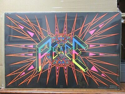NEW LICENSED A 61X91CM LAMINATED BLACKLIGHT POSTER PEACE LOVE /& HAPPINESS