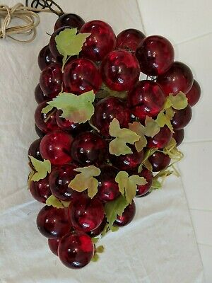 """60's Vtg 12"""" Large Red Lucite Acrylic Cluster Grapes Retro Hanging Lamp Light"""