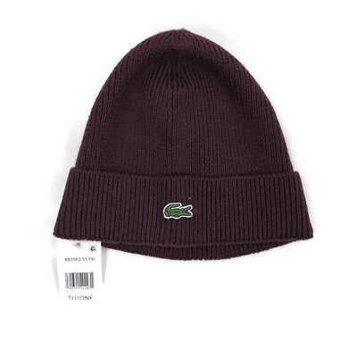 2279d4078e98 LACOSTE MEN S RIBBED Wool Turned Edge Beanie Hat Dark -Grey-Jaspe ...
